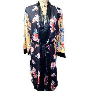 Funky Black Floral & Mixed Print Duster/ Kimono